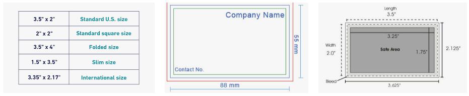 USA Best Business Card Size
