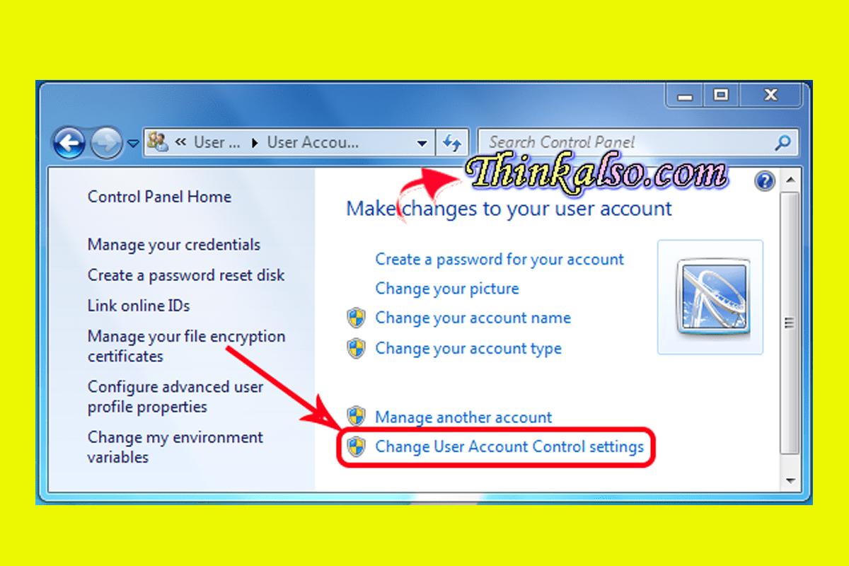 Change User Account Control Settings in windows 10