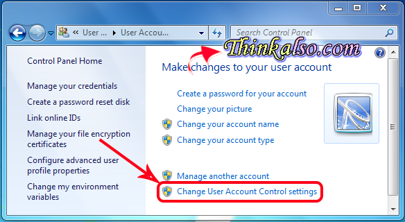 Change User Account Control Settings in windows 8.1