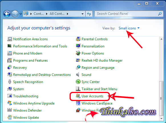 Direct display user account in windows 7