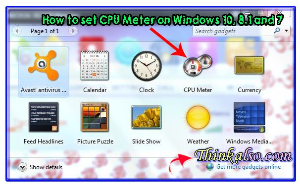 How to set CPU Meter on Windows 10 8