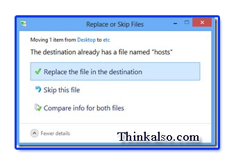 Replace host file in windows 10