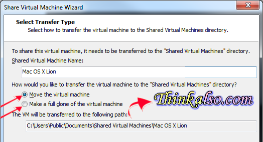 Select transfer type in VMs