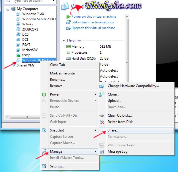 Setup vm share in virtual machine