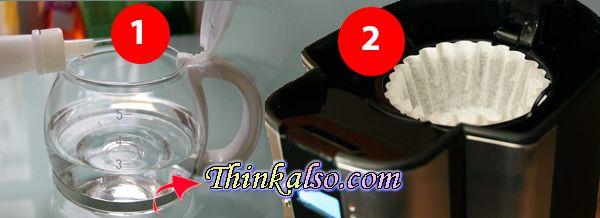 washing coffee maker with vinegar