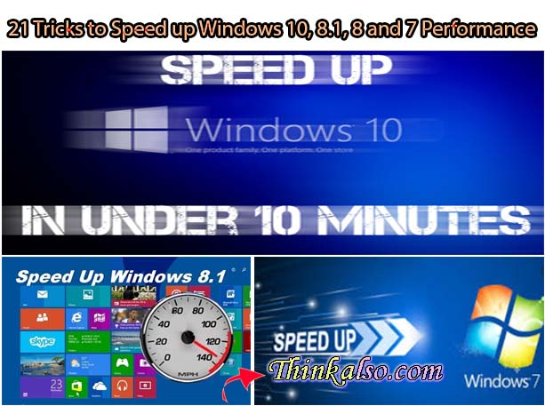 21 Tricks to Speed up Windows 10, 8.1, 8 and 7 Performance