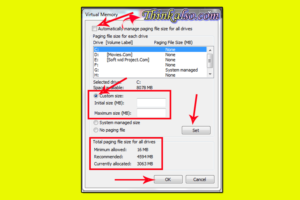 How to customize Virtual memory in windows 10
