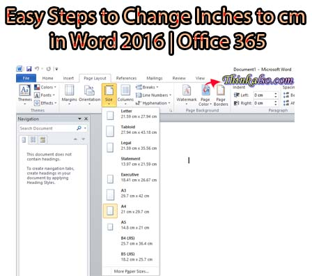 Easy Steps to Change Inches to cm in Word 2016 Office 365